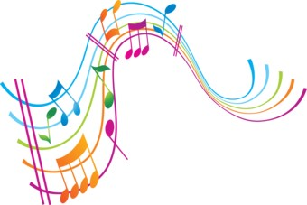 rainbow coloured musical stave